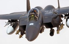 SOUTHWEST ASIA -- An Strike Eagle from the Fighter Squadron, Royal Air Force Lakenheath, England, flies a combat sortie in support of Operation Iraqi Freedom. Air Force photo by Staff Sgt. Military Jets, Military Weapons, Military Aircraft, Military Force, Air Fighter, Fighter Jets, Air Force, Photo Avion, F 16 Falcon