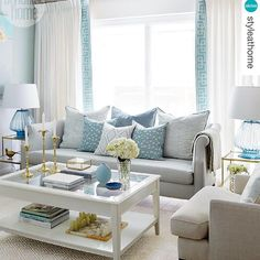 Spotted: our custom Nicole Sofa and diamond-patterned 'Brookhaven Chambray' fabric (pillow) for @kravetinc! Always so excited and humbled to see my designs featured in your homes! This fresh space belongs to @olivialaurendesign as seen in @styleathome magazine. Visit the SHOP section of my website for more product info. (photo: @staceyvanberkel) www.sarahrichardsondesign.com #getinspired