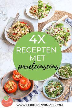 4x recepten met parelcouscous. Wat dacht je van een Italiaanse parelcouscous salade of gevulde tomaten met parelcouscous. Ook vega recepten! Klik op de foto voor de recepten. #parelcouscous #recept