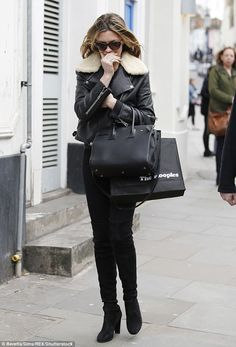 Girls on film: Abbey Clancy was spotted shooting scenes for Britain's Next Top Model in London's Notting Hill area on Tuesday