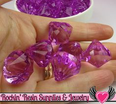 10 Bling Diamond Pendants in Grape Purple Bubblegum by RockinResin