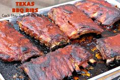Delectable old-fashioned Texas barbecue-style ribs. These ribs are baked in the oven with sliced lemons and diced onions then slathered with a tasty barbecue sauce. This recipe is gluten free. Texas Bbq, Smoke Grill, Homemade Bbq, Spare Ribs, Bbq Ribs, Barbecue Sauce, Glutenfree, Chicken Recipes, Dinner Recipes