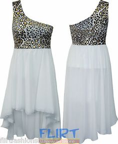 Womens One Shoulder Chiffon Dress Ladies Gold Leopard Print Top Sexy Party Skirt