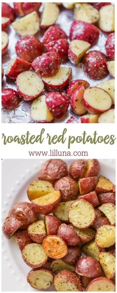 Roasted Red Potatoes Oven roasted red potatoes are the perfect addition to any dinner! This crispy, seasoned side dish will add flavor and color to your meal. Oven Roasted Red Potatoes, Potatoes In Oven, Seasoned Potatoes, Baked Whole Red Potatoes, Red Potatos In Oven, Oven Roasted Veggies, Carrots Oven, Cooking Red Potatoes, Red Potato Recipes