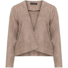 Manon Baptiste Beige Plus Size Faux suede jacket ($160) ❤ liked on Polyvore featuring outerwear, jackets, beige, plus size, plus size waterfall jacket, woven jacket, faux suede jacket, plus size jackets and plus size womens jackets