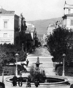 Syntagma Square and Ermou Street,Athens Greece. Attica Athens, My Athens, Athens Hotel, Athens Acropolis, Athens Greece, Greece Pictures, Old Pictures, Old Photos, Athens History