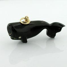 Black Coral Whale 18k Gold  Vintage 3D Charm Pendant