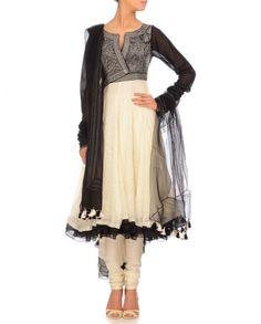 Ivory & Black Abstract Art Anarkali- Buy Ready-to-Wear,Kurta Set Online   Tarun Tahiliani Tarun Tahiliani