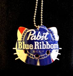 Pabst Blue Ribbon Hello Kitty Necklace Recycled Aluminum Beer Can Art - Other
