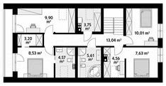 Projekt domu Pogodny 137,62 m2 - koszt budowy - EXTRADOM Gate House, House Plans, New Homes, Floor Plans, How To Plan, Future, Large Sheds, Home, Blueprints For Homes