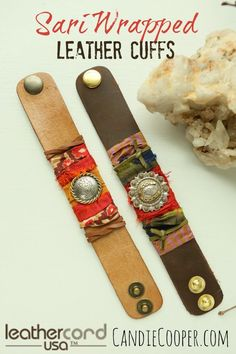 Sari Wrapped LeatherCord USA Cuffs from @candiecooper