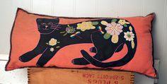 Folk Art cat pillow by TheCounterTopShop on Etsy, $57.00