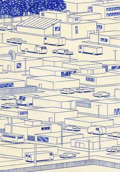 https://flic.kr/p/nJqXfZ | Streets | 21 x 29,7cm, ink on paper, Kevin Lucbert, 2014.