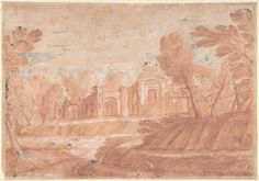 Landscape with Architectural Structure by Anonymous, Italian, Roman-Bolognese, 17th century via Drawings and Prints Medium: Red chalk highlighted with white gouache on light brown paper. Reworked...