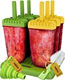 #9: Popsicle Molds Set  BPA Free  6 Ice Pop Makers  Silicone Funnel  Cleaning Brush  Ice Cream Recipes E-book  by Lebice
