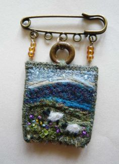 Tweed landscape sheep kilt pin brooch with gem stones