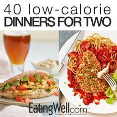 Steak, pasta, chicken, sandwiches and more healthy recipes for two. - Healthy Recipes for two - Dinner Recipes Healthy Low Calorie Dinner, Low Calorie Dinners, Healthy Meals For Two, Low Calorie Recipes, Meals For One, Healthy Cooking, Easy Meals, Healthy Eating, Cooking Recipes