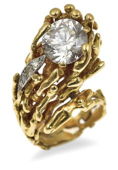 Gold and gem set ring by Grima, size 4 so too small for me... For auction at Leonard Joel 2016. $500 - $700.