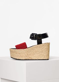 Spring Wedge Sandal in Striped Knit with Wedge in Raphia  - Céline