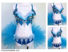 Frozen inspired Rave Outfit  Rave Bra and TuTu Ice by VinylDolls