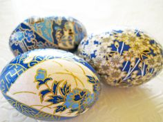 Teal Blue Origami Decoupage Easter Eggs cream by CatnipStudioToo