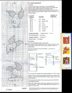 This is a pattern of the Piglet bookmark of Designer Stitches (09-1998) that is no longer for sale.