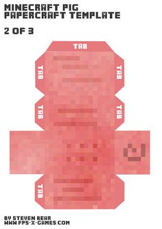 Minecraft pig papercraft template body 2 of 3