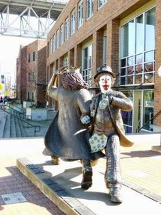 """Adventures of Border Collies in the Burbs - """"Late for the Interurban"""" sculpture of JP Patches and Gertrude - Fremont"""