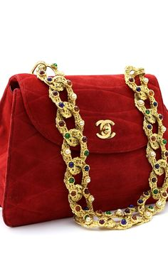 Chanel Red Suede Shoulder Bag