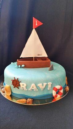 Boat birthdaycake / Nautical cake / boot verjaardagstaart Nautical Cake, Retirement Cakes, Cake Ideas, Boat, Baking, Birthday, Desserts, Kids, Recipes