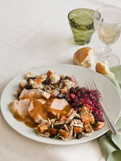 Chef Joan Nathan's #Thanksgiving menu: Brined and Roasted Turkey, Challah Stuffing, Sweet Potato Cassolita, Orange-Cranberry Sauce, and Sweet Fennel Rolls