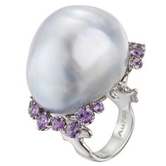 "Misty ring ""Baroque Entourage"" in 18k white gold with rare tahitian silver baroque pearl and genuine violet sapphires by Robert Wan Tahiti"