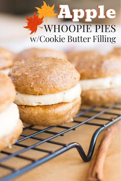 Apple Whoopie Pies with Cookie Butter Filling - A baJillian Recipes Apple Cookie Butter Whoopie Pies Speculoos Cookie Butter, Butter Cookies Recipe, Butter Pie, Gobs Recipe, Apple Butter, Apple Recipes, Fall Recipes, Baking Recipes, Fall Cookie Recipes