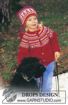 Norwegian style DROPS jacket with yoke and hat in Baby Merino Free pattern by DROPS Design. Toddler Cardigan, Knitted Baby Cardigan, Knit Baby Sweaters, Baby Pullover, Knitted Hats, Ravelry Free Patterns, Knitting Patterns Free, Free Knitting, Baby Knitting