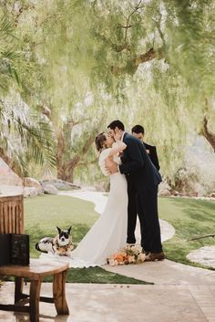 chic and modern Malibu Elopement with Alexandra Grecco Wedding dress and dog