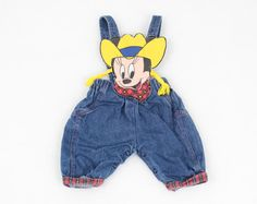 Vintage Minnie Mouse Overalls Baby Girl Jumper Blue Denim Overalls Plaid Disney Cowgirl Jon Jons Romper Playsuit Outfit 3m 3 Mos 3 Months #vintage #etsy #baby #girl #overalls #minniemouse #cowgirl #disney #jumper #jonjons