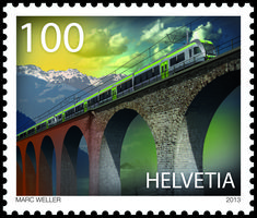 Swiss special stamp: 100 years Lötschberg Railway : http://www.post.ch/philashop