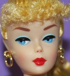 Vintage BARBIE Reproduction NUDE Blonde Ponytail w GOLD HOOP Earrings DOLL STAND