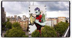 DFace @ Paris... Encore un énorme mur grâce à la Galerie Itinerrance et à la mairie du 13è !... Photo : Lionel Belluteau Plus de photos sur http://ift.tt/YMhG58  @dface_official #streetart13 #dface #d_face #paris #graffiti #parisgraffiti #urbanart #wallpainting #urbanartparis #itinerrance #galleryitinerrance @galerie_itinerrance #lionelbelluteau @unoeilquitraine