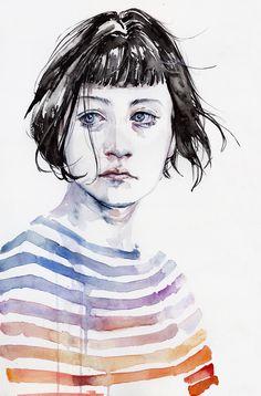 Watercolor Portrait Paintings3 by Agnes Cecile