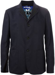 $533, Navy Vertical Striped Blazer: Comme des Garcons Junya Watanabe Comme Des Garons Man Striped Blazer. Sold by farfetch.com. Click for more info: https://lookastic.com/men/shop_items/199623/redirect