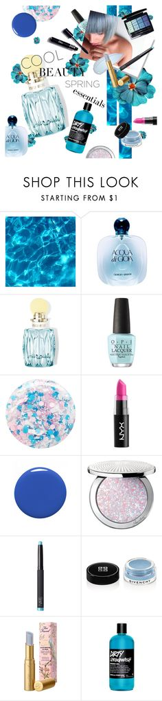 """""""Cool Down Beauty"""" by cheesyxshirleyxo ❤ liked on Polyvore featuring beauty, Giorgio Armani, Miu Miu, OPI, Nails Inc., NYX, Dolce&Gabbana, Guerlain, Givenchy and Too Faced Cosmetics"""