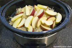 Crockpot Pork and Sauerkraut with Apples from domesticsoul.com Easiest dish to throw together in the morning.  Mine turned into a mushy mess but still tasted good