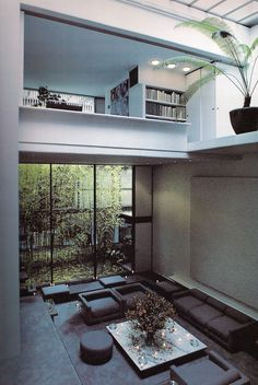 Check out the modern home of #halston with sunken living room.
