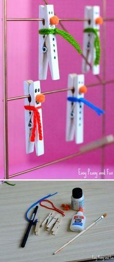 Clothespin Snowman Craft for Kids, X-mas, decoration, DIY, #knutselen, kinderen, basisschool, Kerstmis, sneeuwman van wasknijper #christmastips&tricks