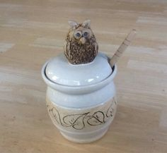 Owl honey pot white with leaves Mountain Mud by MountainMudCompany