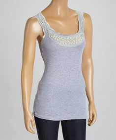 Love this Gray Beaded Scoop Neck Tank on #zulily! #zulilyfinds