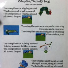 """Song: Very Hungry Caterpillar - caterpillar / butterfly song to the tune of """"The Wheels on the Bus"""""""