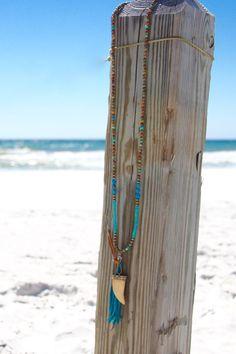 Boho Horn Tusk Necklace Leather Tassel by HappyGoLuckyJewels