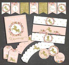Decoraciones para fiestas cumpleaños imprimibles paquete unicornio unicornio rosa y oro 1 º primer cumpleaños paquete Floral unicornio cumpleaños Party Decor